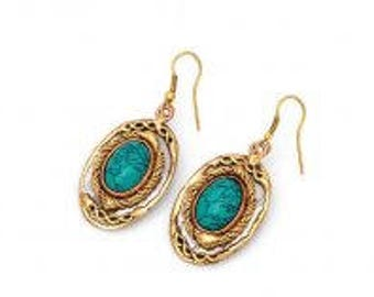 Mixed Metal Turquoise Earrings
