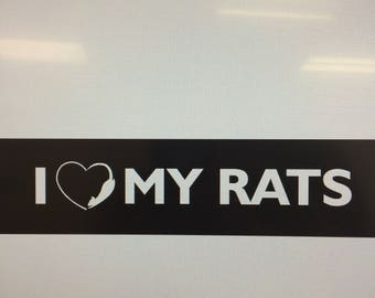 I Love My Rats Car Decal