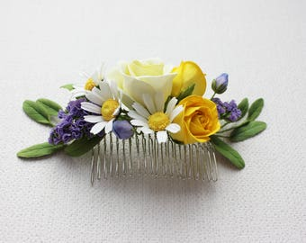 Flowers for hair. Bridal Hair Comb, Wedding Headpiece Flowers for wedding. Hair comb. Wedding Hair Comb  Цветы в прическу
