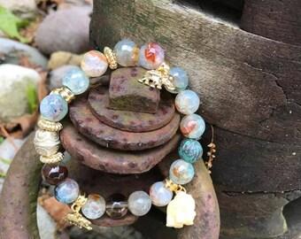 Pastel Colorful Beaded Elephant Bracelet