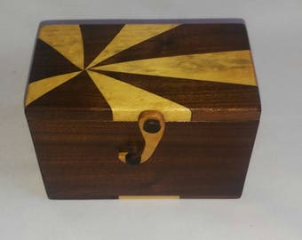 Wood Jewelry Box / Trinket Box.  Walnut and Butternut Wood