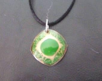 The Green Eye enamel on copper pendant