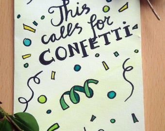 This calls for confetti! A hand painted watercolor card