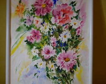 Whight framed flower painting watercolor