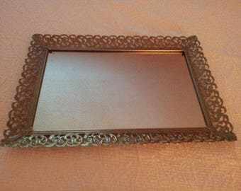 1960s Vintage Mirrored Dressing Tray #1