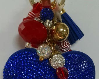 Show off your patriotism with this patriotic handbag charm.