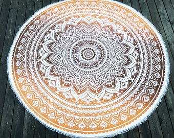 Round Orange Light Brown with white fringes Mandala Wall Hanging / Bed Cover