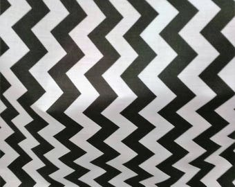 """Fabric Poly cotton Chevron black/white / 60"""" Wide / Sold by the Yard"""