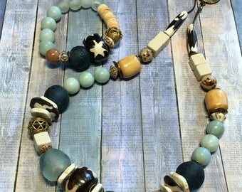 Large Ghanaian Recycled Glass, Wood, Brass Necklace and Bracelet- Blues/ Cream