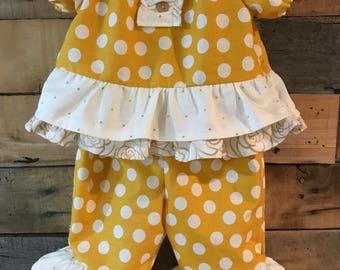 Mustard polka dot shirt/shorts outfit!