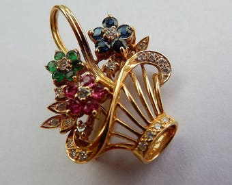 Pendant / brooch flower basket from 750 gold 18 K with rubies, sapphires, emeralds and brilliant-cut diamond diamonds