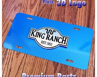 Ford King Ranch 3D License Plate Custom Carbon Fiber Aluminum New F150 F250 3D Emblem 5 Colors F150 F250 F350 Raptor SVT