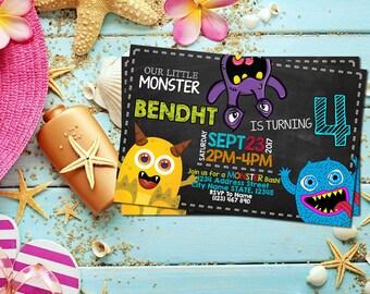 Monster Invitation / Monster Birthday / Monster Birthday Invitation / Monster Party / Monster Printable / Monster Personalized-SL128