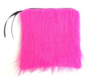Hot Pink Faux Fur Makeup Bag