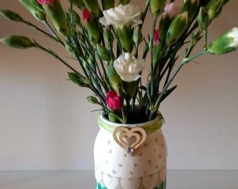 Hand painted vase using decoupage