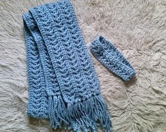Crochet Blue Textured Chunky Scarf