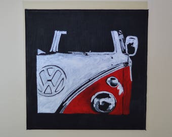 Volkswagen Bus Hand-painted Art Acrylic Painting on Canvas
