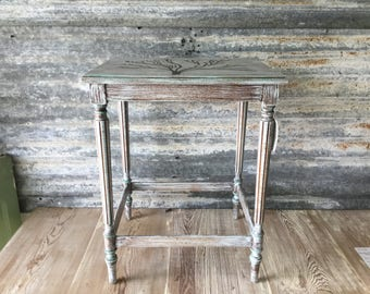 Vintage Upcycled French Louis XVI Legs Side Table.