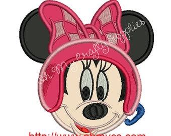 Girl Racing Mouse Applique Design