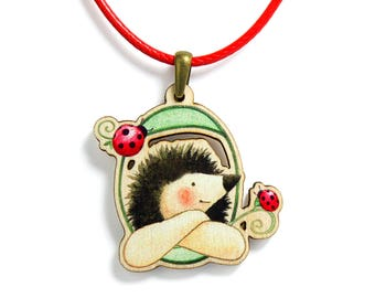 Kids Jewellery Necklace WOODEN ***HEDGEHOG & FRIENDS***