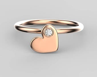 Gold heart ring, solid 18k gold, 14k gold, rose gold, white gold, yellow gold, love ring