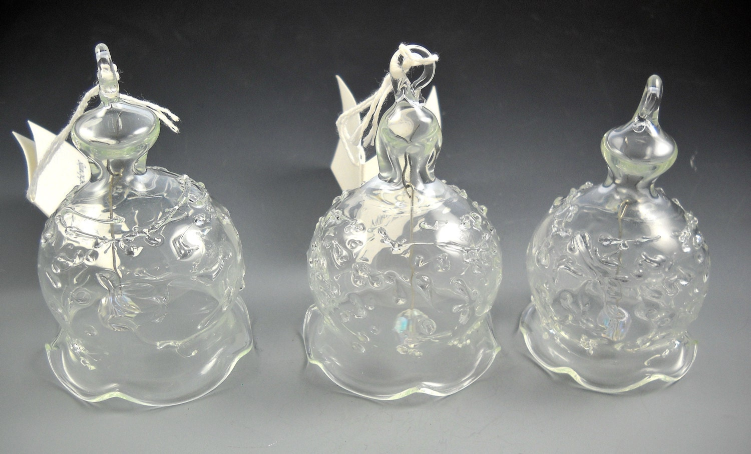 Hand blown clear glass ornaments - Hand Blown Clear Glass Bell Ornaments Set Of 3 By Artistry In Glassblowing Hal A Lindsley