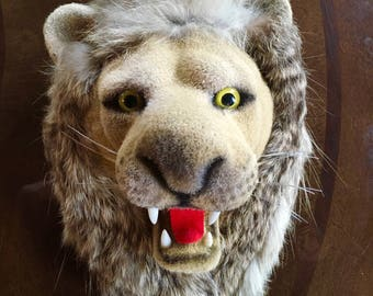 Vintage  Made in Hong Kong Flocked Lion Head Faux Taxidermy Head Mount Man Cave
