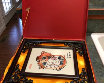 Vintage Chinese Suzho Hand Embroidery Silk Year of the Pig Framed Plus Original Storage Case