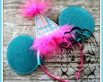PaRTY HaT BIRTHDAY Nbr Bundle (11 Piece) Mr Miss Mouse Ears Headband ~ In the Hoop ~ Downloadable DiGiTaL Machine Emb Design by Carrie
