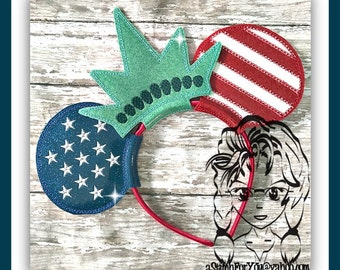 STAR SPaNGLED Ms LiBERTY Inspired (5 Piece) Mr Miss Mouse Ears Headband ~ In the Hoop ~ Downloadable DiGiTaL Machine Emb Design by Carrie