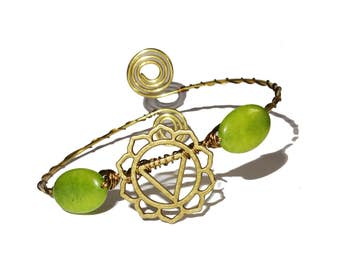 Anahata chakra green brass ethnic bohemian upper arm bracelet armlet