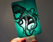 Octopus Nightlight - Nautical Night light in Aqua Blue - perfect for baby shower - Happy Owl Glassworks baby blue aquamarine