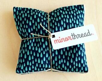 Lavender Sachets Blue Raindrops & Linen Organic Lavender Pillows Set Handmade Hostess Gift - 2 Sachets  Natural Home Wedding Favors