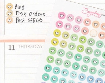 Mini Love Heart Dots Planner Stickers, 120 x 1/4 Inch, Pastel Multi Colored, Checklist Dots, Planner Dots, Highlight Stickers, DOT14