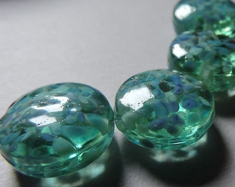 Handmade Glass Blue Green Lampwork Beads Ericabeads River Dance Spree (4)