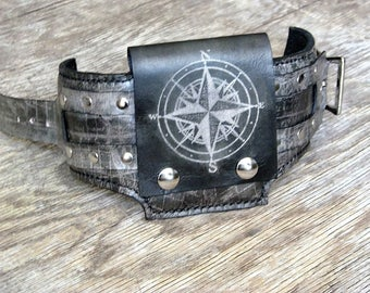 Leather Wrist Wallet Cuff for Men and Women - hidden pocket for travelers, Biker Wallet in Black - World Map - MADE TO ORDER Wristband