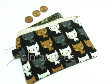 Kawaii Cat, black, cute coin purse, padded, zip wallet id20170206, cardholder, jogging accessory, bag organizer, card case, portefeuille