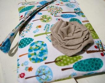 Wedding Clutch 2 pockets,medium,green,discount plan set, wristlet, cotton, bridesmaid - Trees Multi