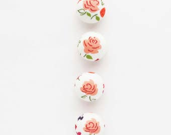 Peach Roses Fabric Covered Half Round Buttons 7/8 Inch | 4 plastic shank back buttons to use for embellishments, hair ties, clothing, etc.