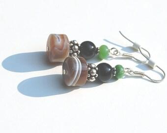 Botswana Agate, Variscite & Black Onyx Earrings