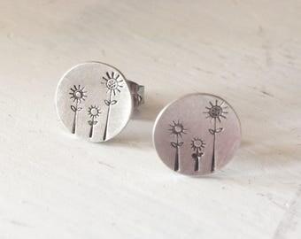 Sterling Stamped Triple Flower Stud Earrings
