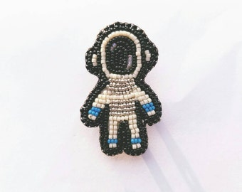 Mini Astronaut Pin,Brooch, Bead Embroidered