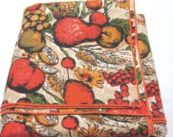 ON SALE Vintage Bright Orange Gold and Tan Fruit Print 50 Inch Square Table Cloth