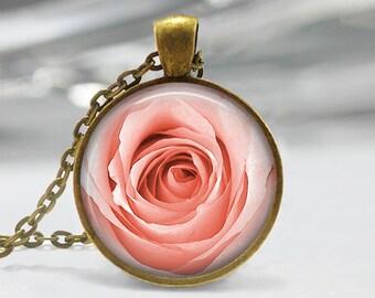 Pink Rose Pendant, Rose Art Pendant, Rose Jewelry, Pink Rose Art Pendant, Rose Necklace, Bronze Silver, Pink Rose Glass Dome Pendant 1296