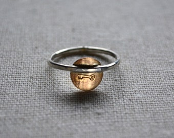 Key stamped ring in sterling silver and 14kt goldfill