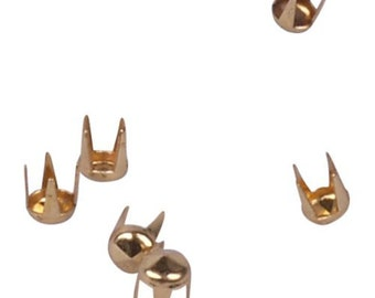 Gold Round Pyramid Metal Studs - 3mm - 250 Pieces (MS3GORPD-250)