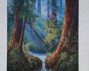 Mystic Redwood Forest, Fine Art Giclee, FINE ART PRINT,  print with artist brushwork in oils