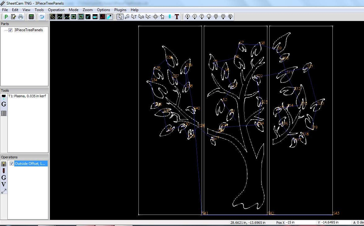 3 piece tree panels dxf svg files plasma cutting cnc laser metal art water jet milling router