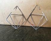 Flight Earrings - Sterling silver oxidized geometric earrings - ready to ship