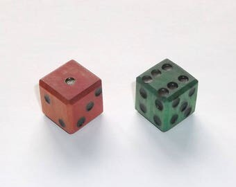 Wooden Dice - Imperfect Red & Green Pair #1